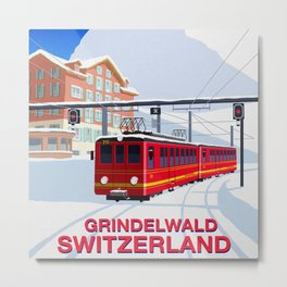 Grindelwald Ski Poster Metal Print