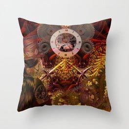 Steampunk internal clock Throw Pillow