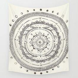 Moon Phase Mountain Mandala Wall Tapestry