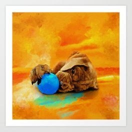 Cane Corso - Italian Mastiff Puppy with a ball Art Print
