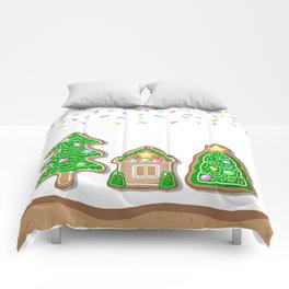 Merry Christmas Poster with Gingerbread House and Christmas Tree Comforters
