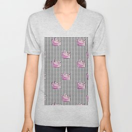 paradisebirds black dots and pink swans 2, home decor Graphicdesign Unisex V-Neck