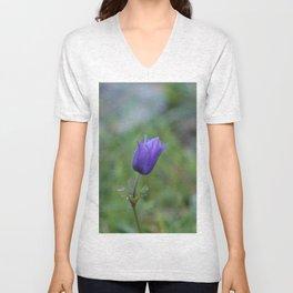 Lone Blue-Purple Anemone Unisex V-Neck