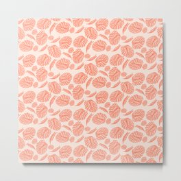 Pink Monstera Coral Pattern Metal Print