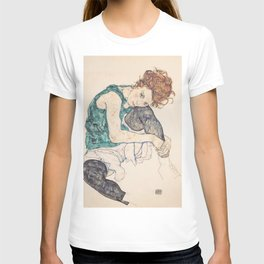SEATED WOMAN WITH BENT KNEE - EGON SCHIELE T-shirt