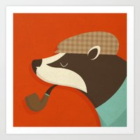 country Art Prints featuring Country Badger by Zara Picken