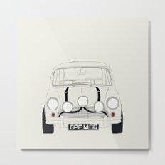 The Italian Job White Mini Cooper Metal Print