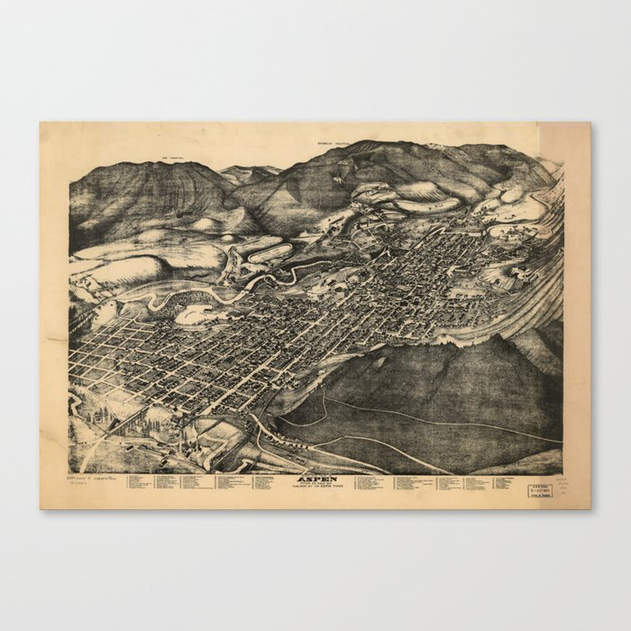 Bird's Eye View of Aspen, Colorado (1893) Canvas Print