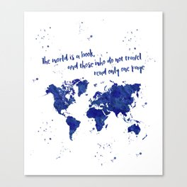 The world is a book (blue world map) Canvas Print