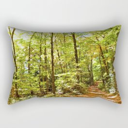 Sunlit Forest in Autumn Rectangular Pillow