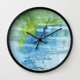 Blue green colored wash drawing Wall Clock