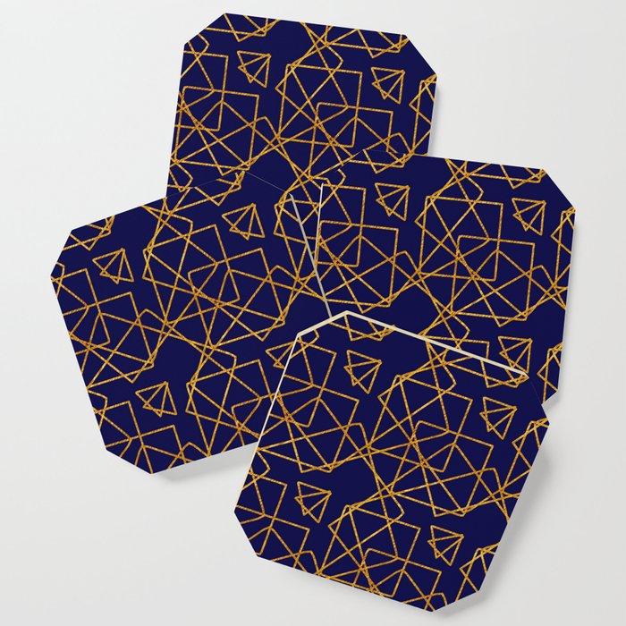 Navy blue and gold geometric print. Coaster