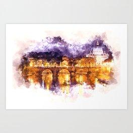 Holy Angel Bridge and St. Peter's Basilica Art Print