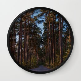 Pine Forest Road Wall Clock