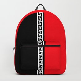 Greek Key 2 - Red and Black Backpack