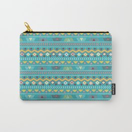 Geometrical teal orange colorful tribal aztec Carry-All Pouch