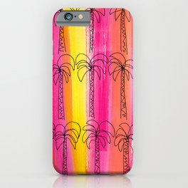 Palm trees pattern Pink summer beach illustration iPhone Case