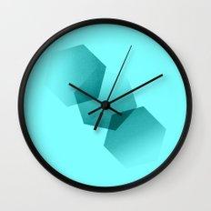 Dancing Hexagons in Blue Wall Clock