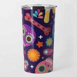Sugar Skulls, Colorful, Day Of The Dead Travel Mug