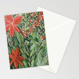 Orange Tropical Flowers Stationery Cards