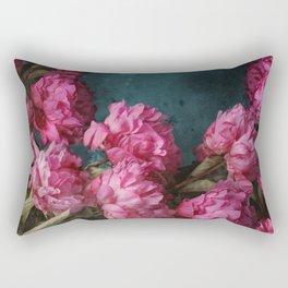 Peony Romance Teal Rectangular Pillow