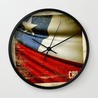 chile Wall Clocks featuring Chile grunge sticker flag by Lulla