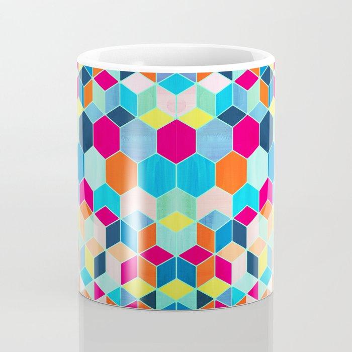 Super Bright Color Fun Hexagon Pattern Coffee Mug