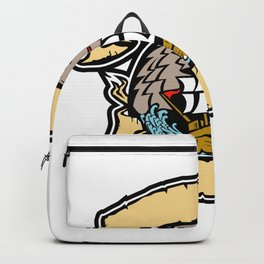 Angry Wolf Pirate Ship Banner Retro Backpack
