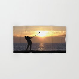 Playing Golf At Sunset Hand & Bath Towel