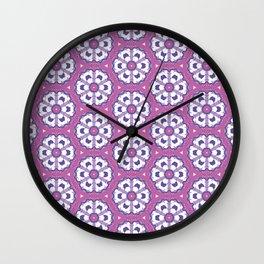 Purple geometric floral pattern Wall Clock