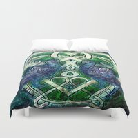 celtic Duvet Covers featuring Celtic Peacocks by D. Renee Wilson