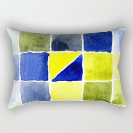 Color Chart - Lemon Yellow (DS) and Cobalt Blue (DS) Rectangular Pillow