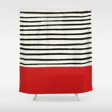 Red Chili x Stripes Shower Curtain