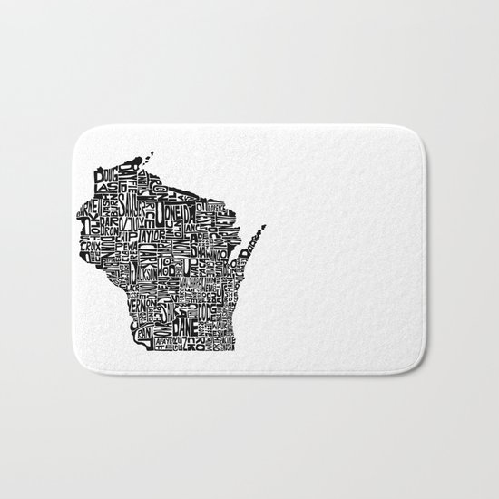 Typographic Wisconsin Bath Mat