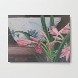Porcelain bowl with lilies Metal Print