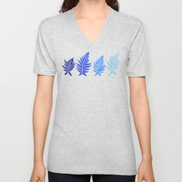 Inked Ferns – Blue Palette Unisex V-Neck