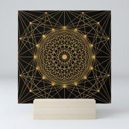 Geometric Circle Black and Gold Mini Art Print