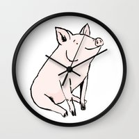 pig Wall Clocks featuring Pig by Emily Stalley