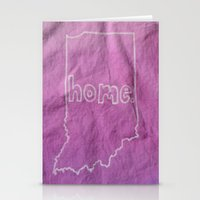tote bag Stationery Cards featuring Indiana is Home Purple Ombre (Bag Art) by Aries Art
