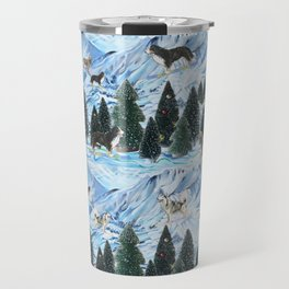 Dogs Skiing - Mountain Resort Scene with Bernese Mountain Dogs, Golden Retrievers, and Malamutes Travel Mug