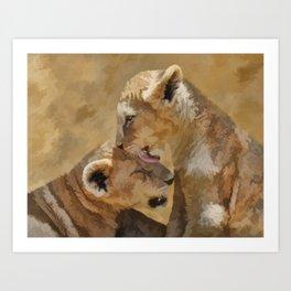 Loving nature of a lion cub Art Print