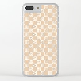 Blush peach white hand painted geometric squares Clear iPhone Case