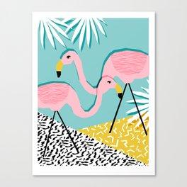 Bro - wacka design memphis throwback minimal retro hipster 1980s 80s neon pop art flamingo lawn Canvas Print