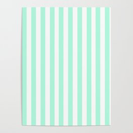 Cabana Stripes in Mint Poster