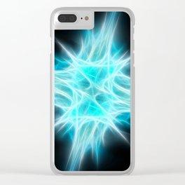 Aqua Blue Star 1 Clear iPhone Case