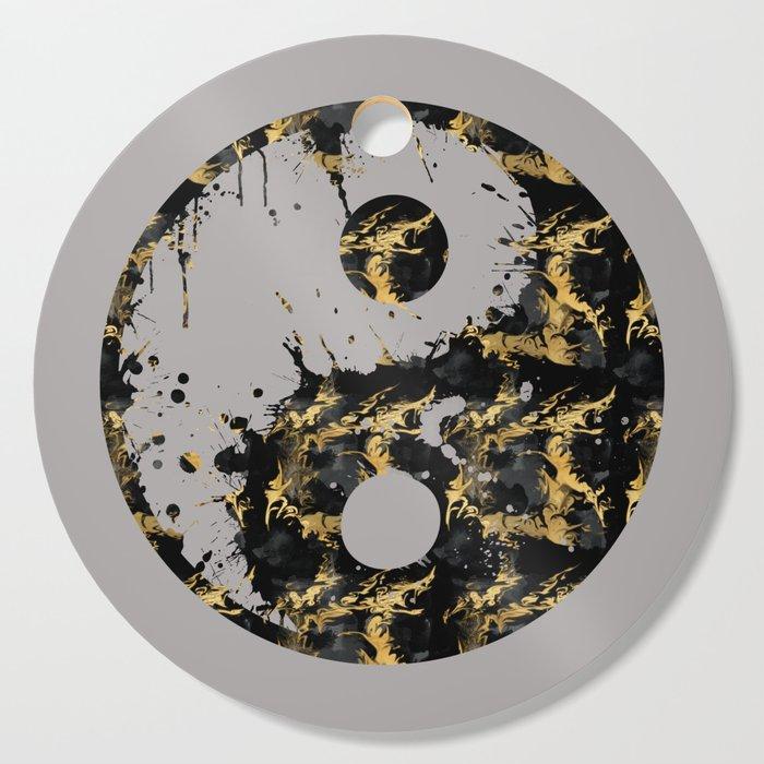 Abstract YIN AND YANG Taijitu Symbol | grey &gold Cutting Board