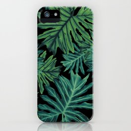 Philo Hope - Tropical Jungle Night Leaves Pattern #1 #tropical #decor #art #society6 iPhone Case