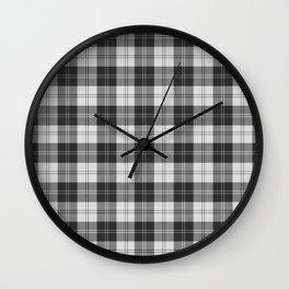 Clan Erskine Tartan // Black & White Wall Clock