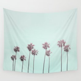 Pink Light Paradiese Beach Palm Trees Wall Tapestry