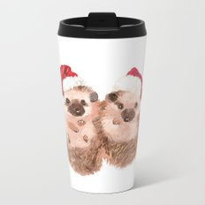 Christmas Twin Hedgehog Metal Travel Mug